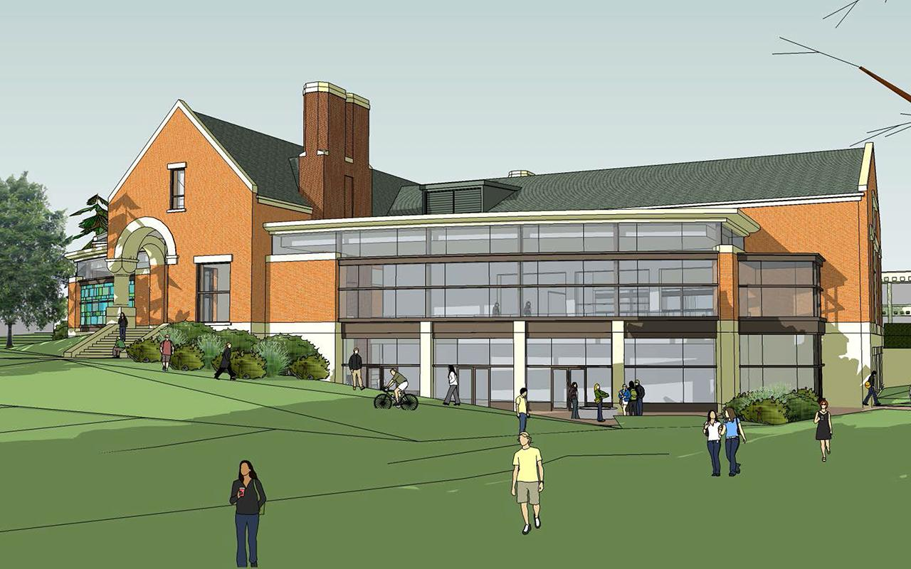 Schematic drawing of the Jim and Martie Bultman Student Center showing the west side of the building.