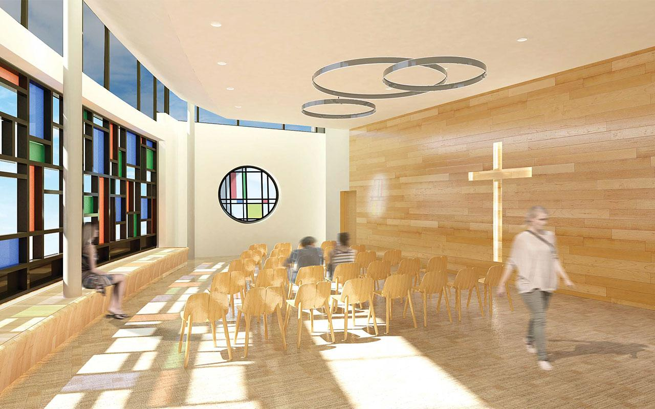 Chapel of the Jim and Martie Bultman Student Center. Schematic design created by Stantec - Philadelphia, PA