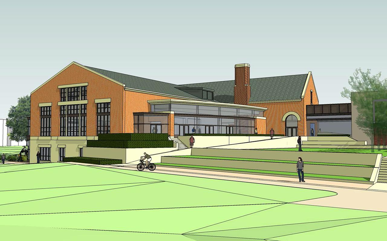 Schematic drawing of the Jim and Martie Bultman Student Center showing the southwest view of the building.