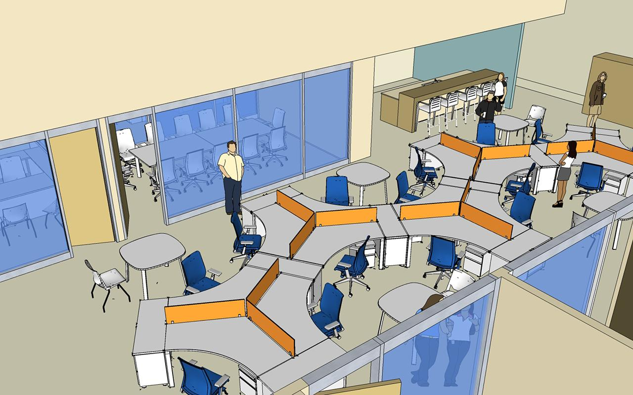 Schematic drawing of the Jim and Martie Bultman Student Center showing the Student Organizations-Office Space.