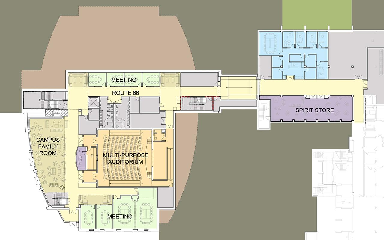 Lower level plan of the Jim and Martie Bultman Student Center.