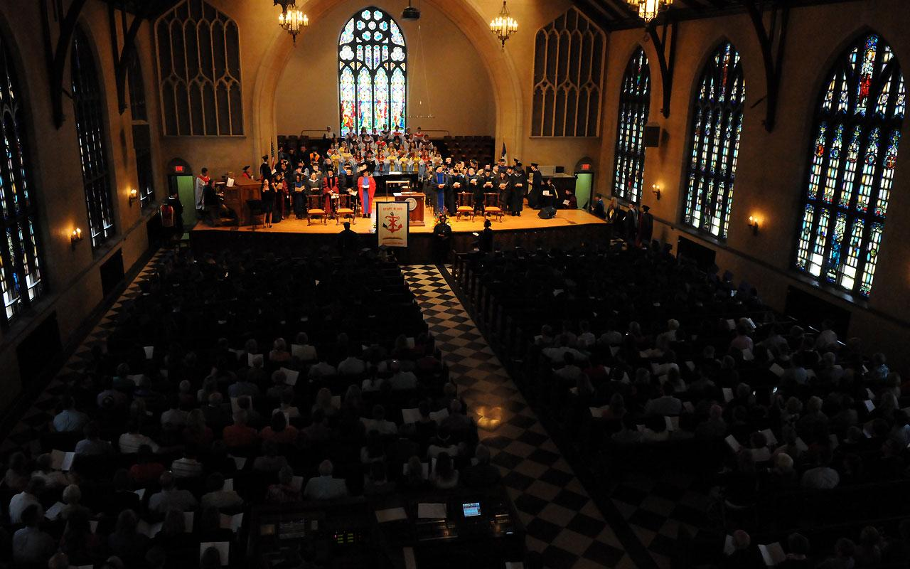 Overview Baccalaureate Service taken from the balcony of Dimnent Memorial Chapel.
