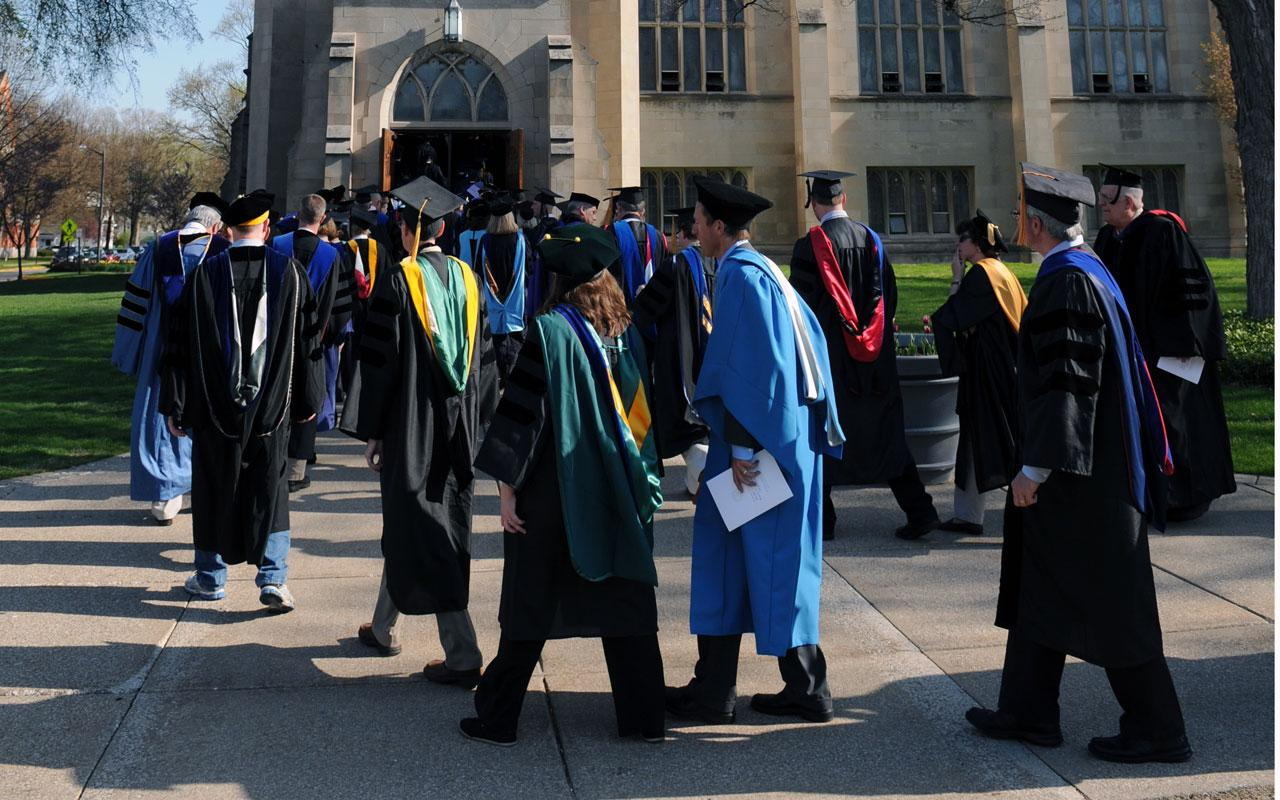 Faculty entering Dimnent Memorial Chapel for the Baccalaureate Service.