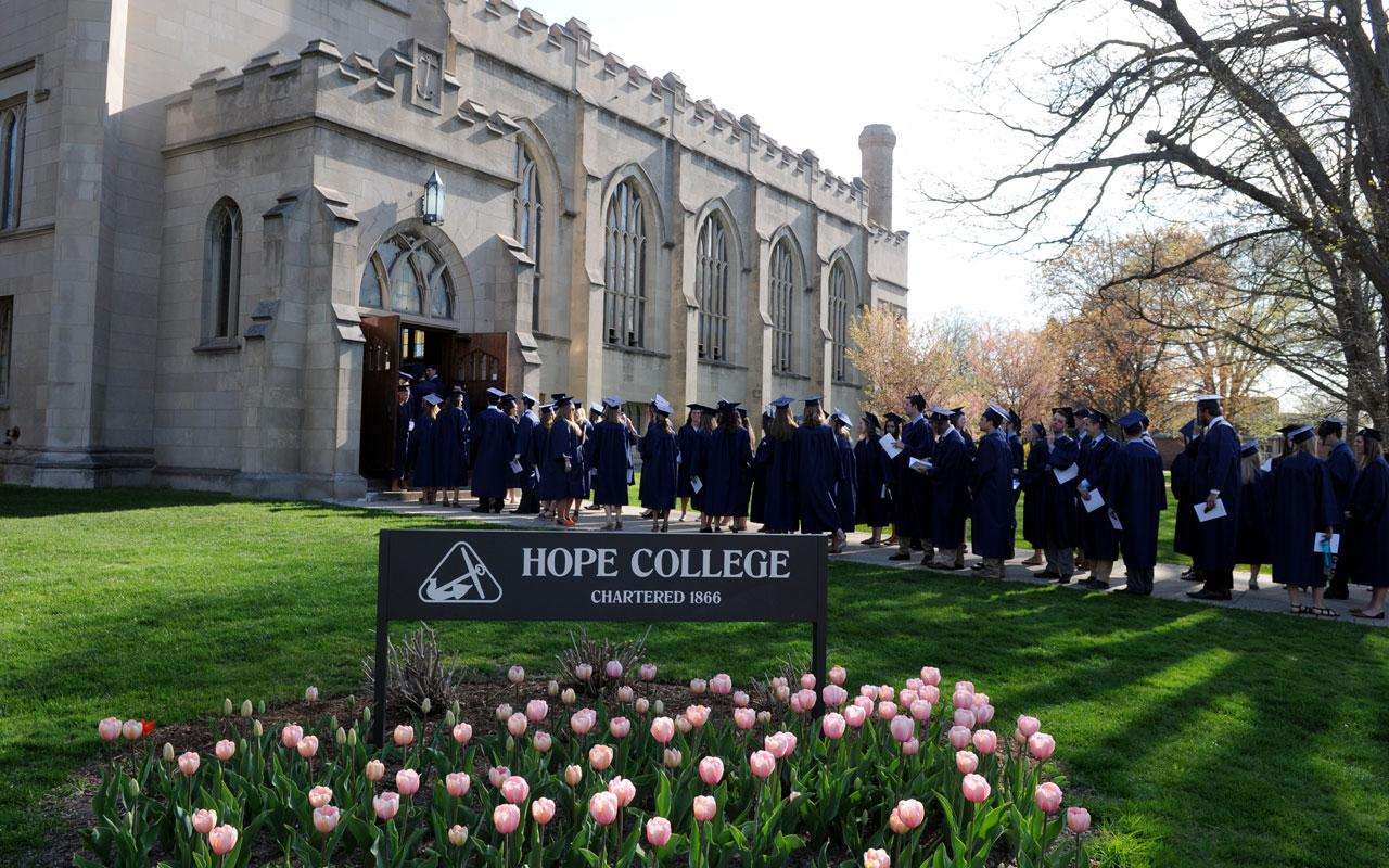 Graduating seniors line up outside Dimnent Memorial Chapel for the Baccalaureate Service.