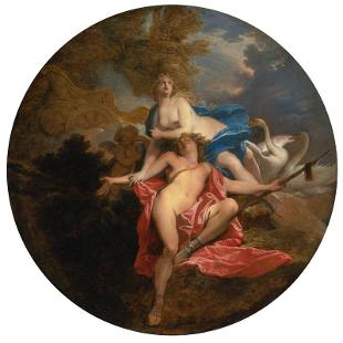 An early 18th century oil painting titled The Death of Adonis by the French master Nicolas Bertin (1667-1736). The circular painting depicts Aphrodite grieving over the body of her handsome young paramour in a composition that recalls images of Mary lamenting the death of Jesus.