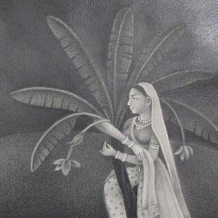 Drawings from the 1990s by the neo-Mughal Pakistani master Bashir Ahmad (born 1954). The paintings recall classic Indian drawings and paintings of the 18th and 19th centuries, but with a decidedly modern tone.