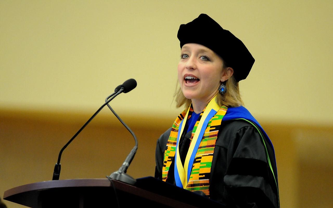 Dr. Virginia Beard, associate professor of political science and director of the Women's and Gender Studies Program was the featured Convocation Speaker inside the Richard and Helen DeVos Fieldhouse.