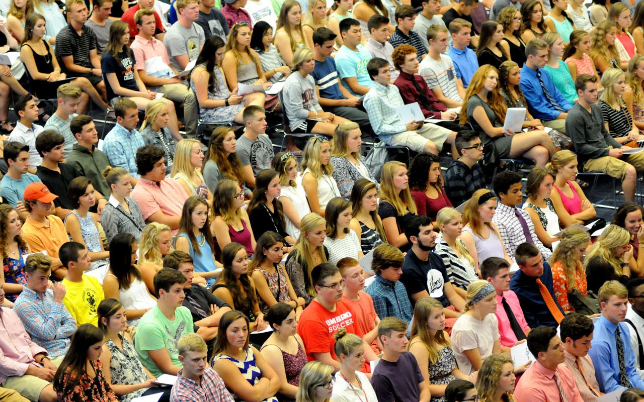 New students participate in the Opening Convocation.