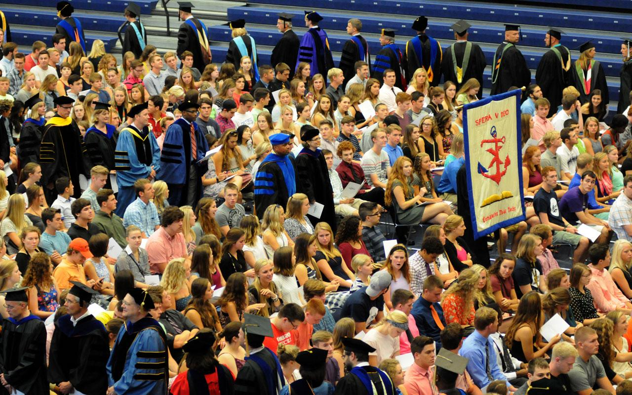 New students, family members and faculty participate in the Opening Convocation.