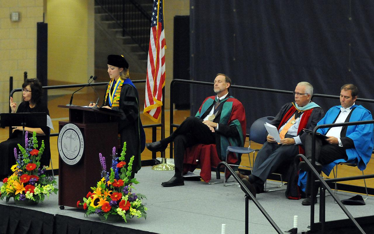 Dr. Virginia Beard, associate professor of political science and director of the Women's and Gender Studies Program was the featured Convocation. Photo by Tom Renner on August 30, 2015