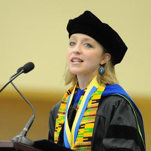 Dr. Virginia Beard gives the address at the Opening Convocation. Photo taken by Tom Renner on August 30, 2015