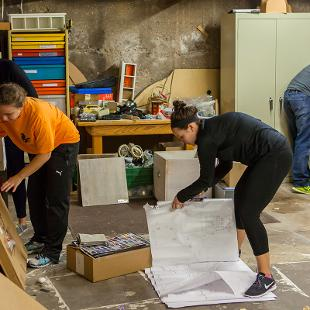 "Hope students participated in a service project at Holland Area Arts Council through the college's annual ""Time to Serve"" program.  Photo by Neil Travers on September 12, 2015"