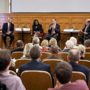 Panelists Dr. Robin Baker (George Fox University), Dr. Michael Le Roy (Calvin College), Dr. Mary Dana Hinton (College of Saint Benedict) and President John Knapp with Moderator Michael Cromartie (Ethics and Public Policy Center). Photo by Steven Herppich on September 30, 2015