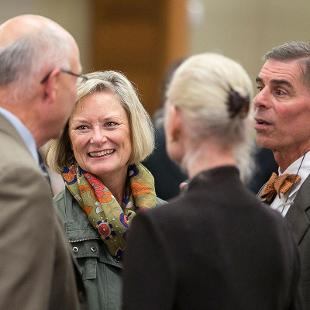 President Emeritus Jim Bultman, Claire Boersma, Trustee Bill Boersma and Martie Bultman at Presidential Colloquium reception.  Photo by Steven Herppich on September 30, 2015