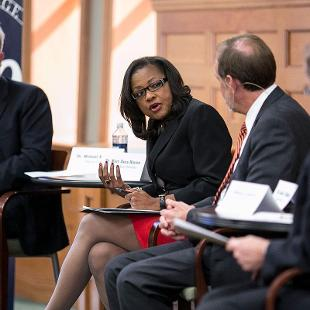 Dr. Mary Dana Hinton (College of Saint Benedict) comments during the  Presidents' Panel Discussion. Photo by Steven Herppich on September 30, 2015
