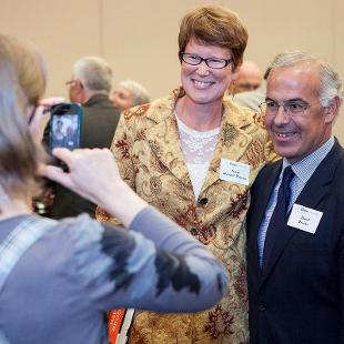Karen Nordell Pearson and David Brooks at the Presidential Colloquium Reception. Photo by Steven Herppich on September 30, 2015