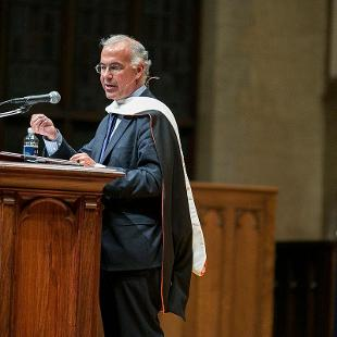 "Columnist and Author David Brooks addresses the theme ""The Value and Relevance of a Faith-Based Liberal Arts Education in the 21st Century."" Photo by Steven Herppich on September 30, 2015"