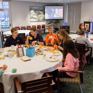 Family Weekend Siblings Mascot Breakfast. Photo by Neil Travers on October 31, 2015