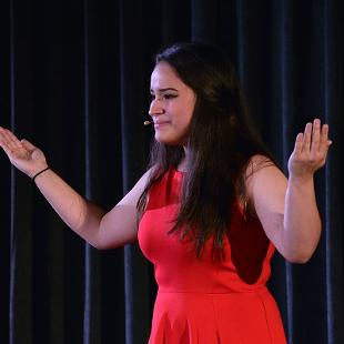 "2018 Oration ""The End is the Beginning"" presented by Gianna Ramirez. Photo by Jon Lundstrom on October 31, 2015."