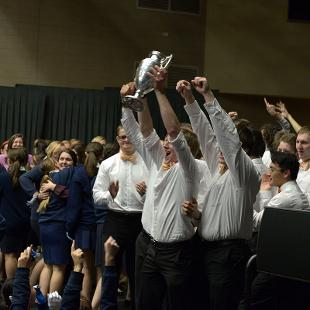 The Class of 2019 wins the  Nykerk Cup competition. Photo by Jon Lundstrom on October 31, 2015.