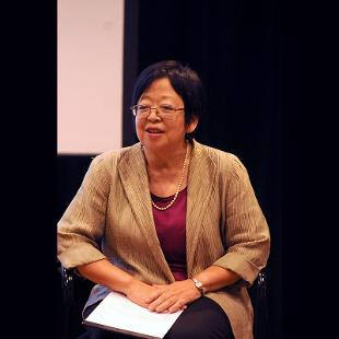 Margaret Matsumoto discussed the work of her father, Toru Matsumoto, who was ordained in the Reformed Church in America and had been a member of the Meiji Gakuin University faculty. Photo by Greg Olgers on November 3, 2015