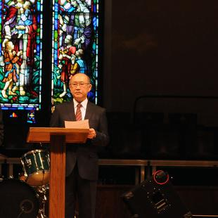 The college's Chapel service featured a commemoration of the anniversary.  Andy Nakajima, associate professor of Japanese Hiroyoshi Udono, president of Meiji Gakuin University, and John Knapp, president of Hope College. Photo by Tom Renner on November 4, 2015