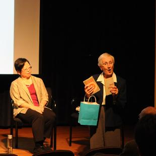 Margaret Matsumoto and Elaine Tanis discussed the work of Toru Matsumoto, who was ordained in the Reformed Church in America and had been a member of the Meiji Gakuin University faculty.Photo by Greg Olgers on November 3, 2015