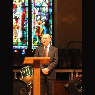 The college's Chapel service featured a commemoration of the anniversary with comments by Hiroyoshi Udono, president of Meiji Gakuin University. Photo by Tom Renner on November 4, 2015