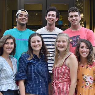 Worship Team — Top Row (left to right): Jared Lowe, Michael Stone, Micah Stilwell; Bottom Row (left to right): Liv Maat, Anna Kate Peterson, Sarah Kalthoff, Mikayla Battistone