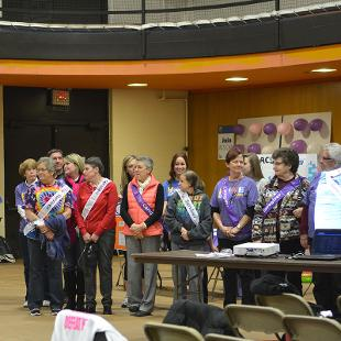 Cancer survivors are recognized during the Relay for Life campus event in the Dow Center gym.