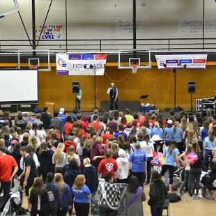 Dean Richard Frost addressed Relay for Life participants during the campus event.