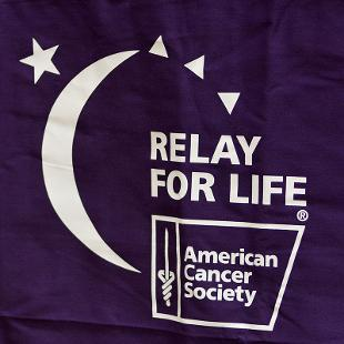 Purple and White Relay for Life Banner
