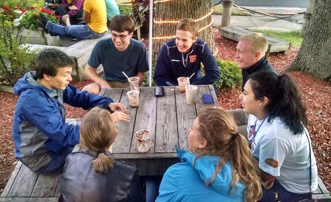 Watershed group getting ice cream after a day of lab work