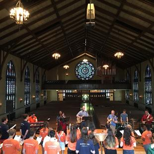 Worship band playing in Dimnent Chapel