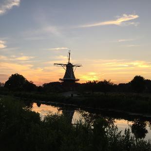 The sun setting over Windmill Island