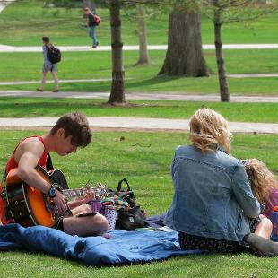 A student playing the guitar in the pine grove