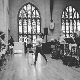 A female worship dancer performs in Dimnent Chapel