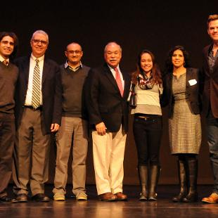 Critical Issues Symposium -  Ohanes Khacherian, Nabil Costa, Habeeb Awad, Alfredo Gonzales, Jessica Korte, Yasmin Moll, Jayson Dibble. Photo by Tom Renner on February 25, 2016