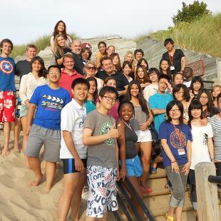 International families at the Lake Michigan beach