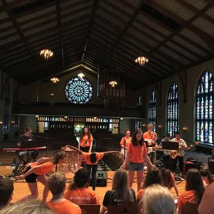 A worship band playing in Dimnent Chapel