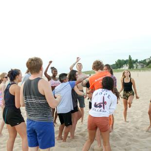 Group activities taking place on the beach at Holland State Park