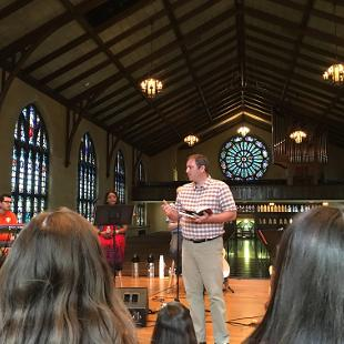 Dean of Chapel Trygve Johnson delivers a message in Dimnent Chapel.
