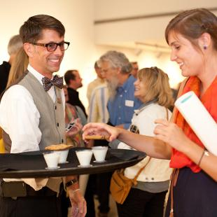 Hope College catering serves the art gallery exhibition.