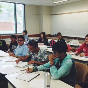 Upward Bound students in class.