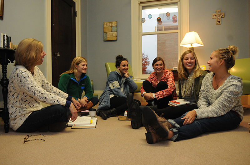 students at a bible study.