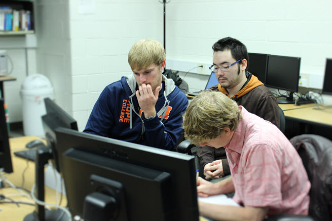 Students working on a group project in the Computer Science Lab