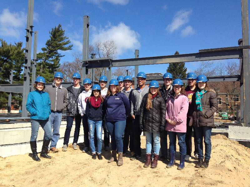 Civil Engineering students visit construction site of new Bultman Student Center