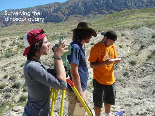 Students surveying dinosaur quarry with Leica Total Station