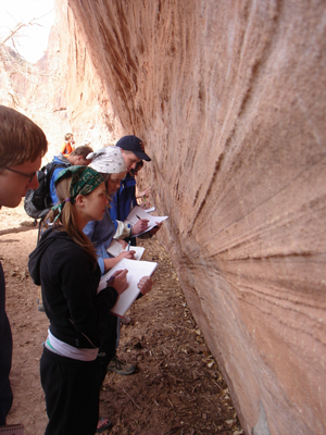 Students observe sedimentary structures in a sandstone wall looming over their heads