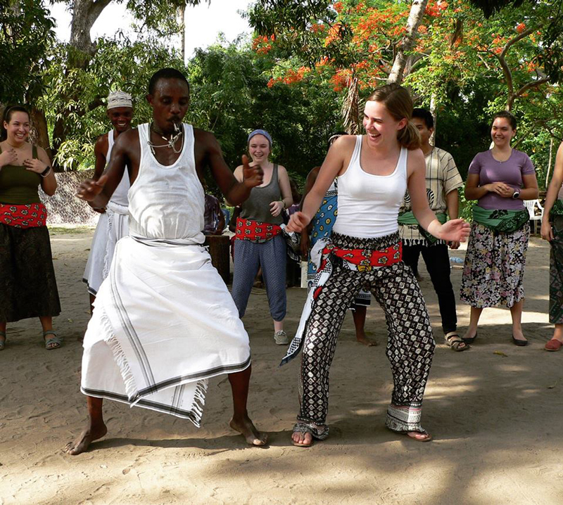 Student dancing in Africa